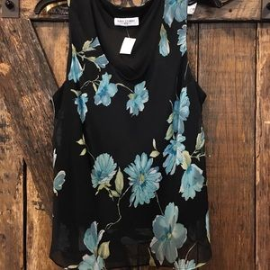 Black top with blue flowers